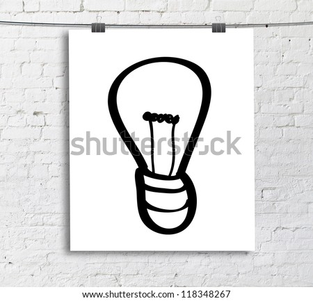 drawing lightbulb on white poster