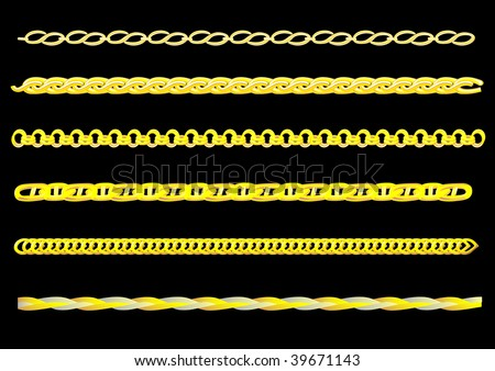 drawing links of gold chain. You can create a chain of any chain - stock photo