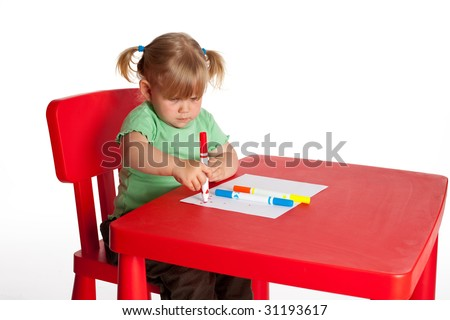 drawing little girl sitting near red table