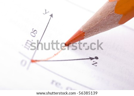 Drawing math graph with orange color pencil