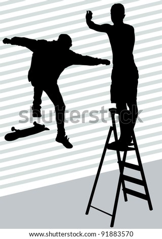 drawing men on a skateboard and ladder