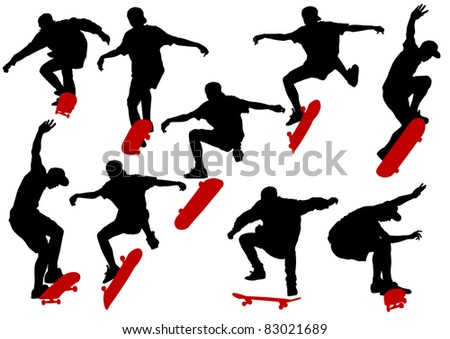drawing men on skateboards - stock photo