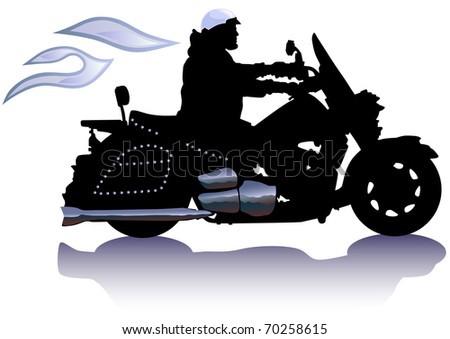 drawing men to big motorcycle. Silhouette on white background