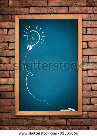 Drawing of a bulb idea blue board on wall background