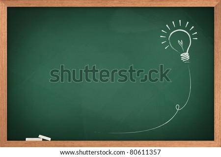 Drawing of a bulb idea on green board