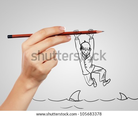 Drawing of a businessman in a risky situation