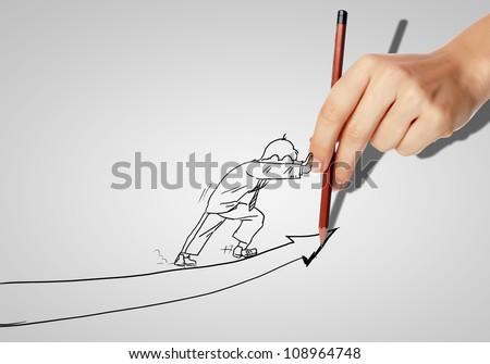 Drawing of a businessman with an upward arrow