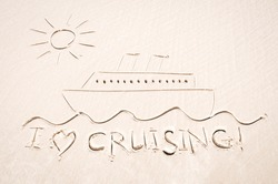 Drawing of a cruise ship sailing along sunny seas on smooth sand beach with I Heart Cruising tropical holiday message
