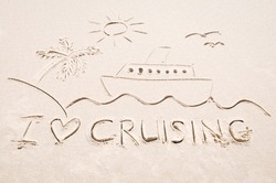Drawing of a cruise ship sailing along sunny seas on smooth sand beach with I Love Cruising tropical holiday message