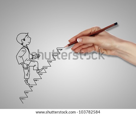 Drawing of a man climbing up the stairs