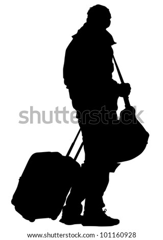 drawing of a man high ground a suitcase