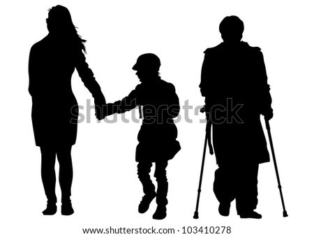 drawing of a mother with child and disabled on crutches