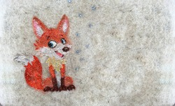 drawing of a sly fox on a  fleecy carpet texture