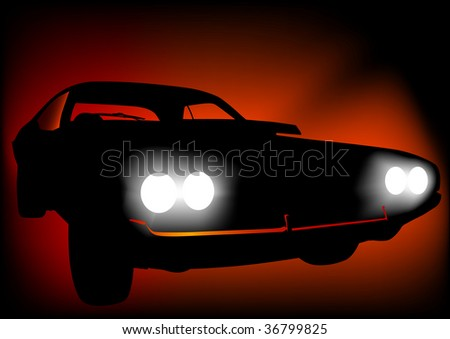 drawing of a sports car at night. Discounted lamps