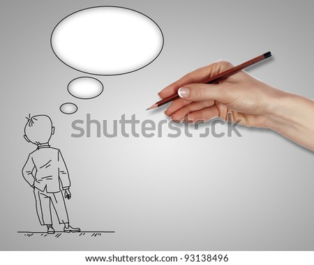 Drawing of a standing man in thoughts