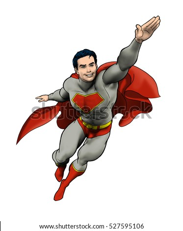 Drawing of a super hero flying into action. - Shutterstock ID 527595106