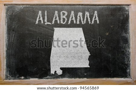 drawing of american state of alabama on chalkboard, drawn by chalk