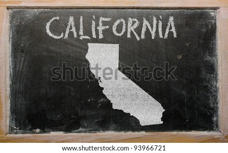 drawing of american state of california on chalkboard, drawn by chalk