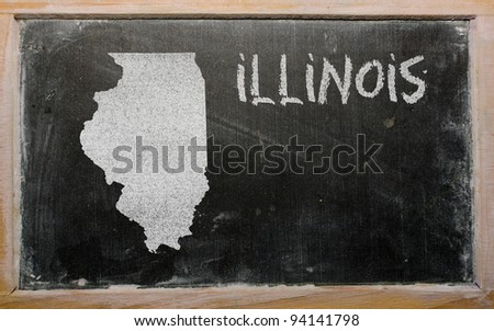 drawing of american state of illinois on chalkboard, drawn by chalk