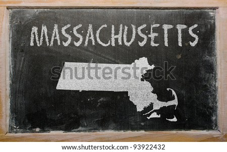 drawing of american state of massachusetts on chalkboard, drawn by chalk