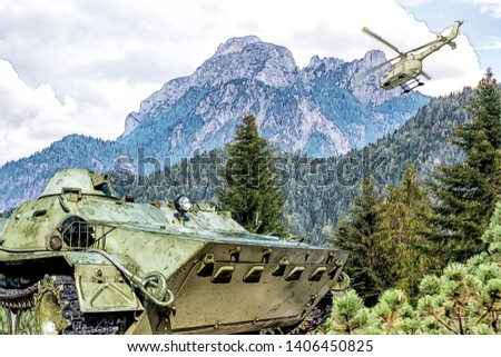 Drawing of an armored troop-carrier on background of Alps mountains. Military helicopter in the sky.