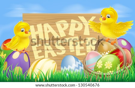 Drawing of an Easter sign reading Happy Easter surrounded by Easter eggs and yellow cartoon Easter chicks