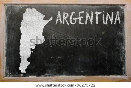 drawing of argentina on blackboard, drawn by chalk