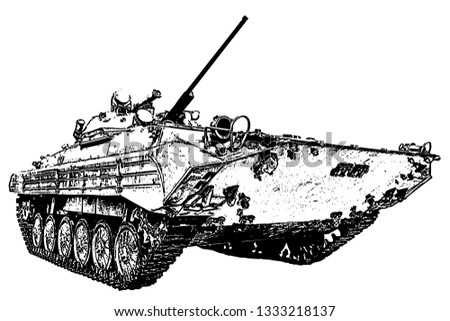 Drawing of armored troop-carrier on white background, isolated.