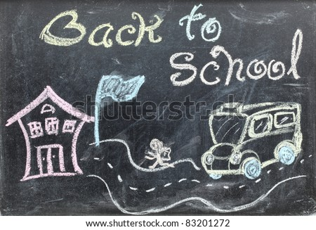 drawing of back to school concept on blackboard