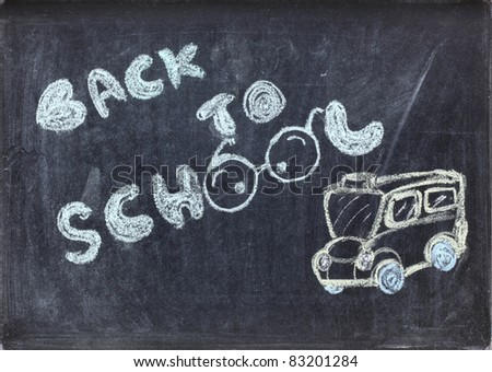 drawing of back to school on blackboard - stock photo