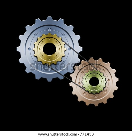 Drawing of belt connected gears. Great for web layouts. This is the colorized version
