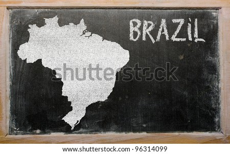 drawing of brazil on blackboard, drawn by chalk