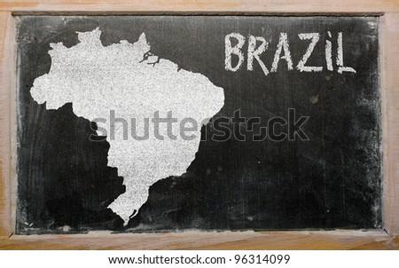 drawing of brazil on blackboard, drawn by chalk