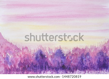 Drawing of bright colorful forest, hills yellow sky. Light pink color clouds silhouettes lines. Picture contains interesting tourism idea evokes emotions pleasure. Natural paints. Art painting texture #1448720819