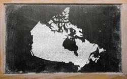 drawing of canada on blackboard, drawn by chalk