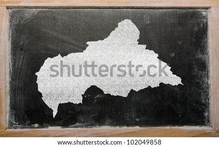 drawing of central african republic on blackboard, drawn by chalk