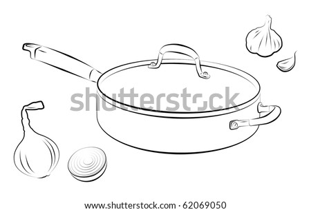 Drawing of cooking pan with onion and garlic.