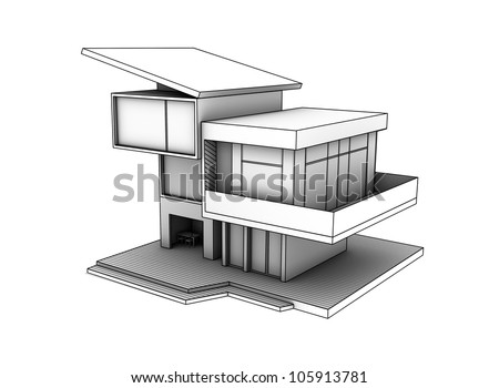 drawing of cottage on a white background