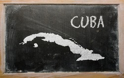 drawing of cuba on blackboard, drawn by chalk