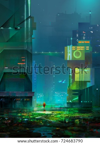 Stock Photo Drawing of cyberpunk. Sketch night a fantastic city of the future