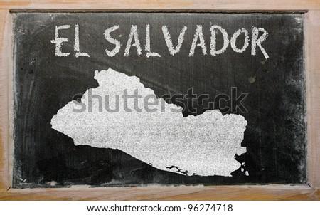 drawing of el salvador on blackboard, drawn by chalk