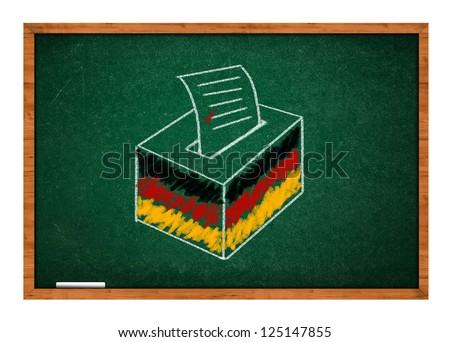 Drawing of election ballot with German flag on a green school chalkboard.