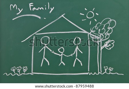 Drawing of family on chalkboard