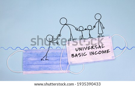 Drawing of family on face mask with universal basic income text helping another figure up from going under water Foto stock ©