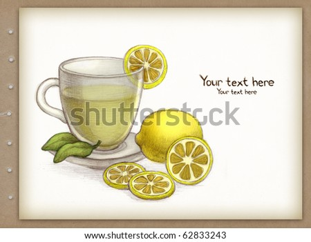 Drawing of glass cup of tea with lemon