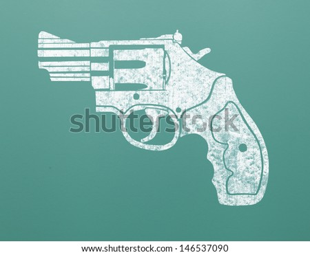 Drawing of Hand Gun on Green Chalk Board.