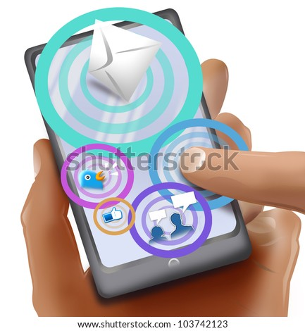 Drawing of Hand Holding a touchscreen phone with Social media icons. Isolated in white background.