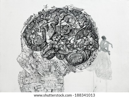 Drawing of human head and brain contain a lot of stuff with the man thinking on skull,ink on canvas.
