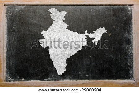 drawing of india on blackboard, drawn by chalk