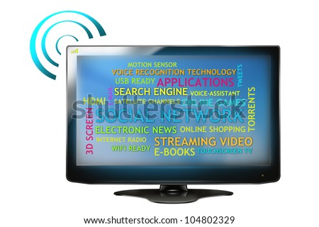 Drawing of Internet-Ready HD Television. Isolated in White Background.